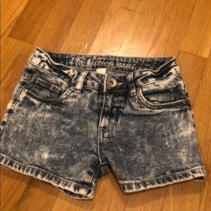 Justice white washed denim shorts